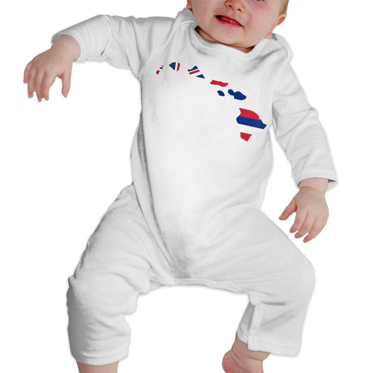 A1BY-5US Baby Infant Toddler Cotton Long Sleeve Hawaii Map Jumpsuit Romper One-Piece Romper Clothes