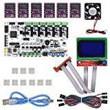 Witbot Rumba Board with 404015mm 12V Cooling Fan with 12864LCD with DRV8825 Stepper Motor Drive With Jumper Wire for 3D Reprap Printer
