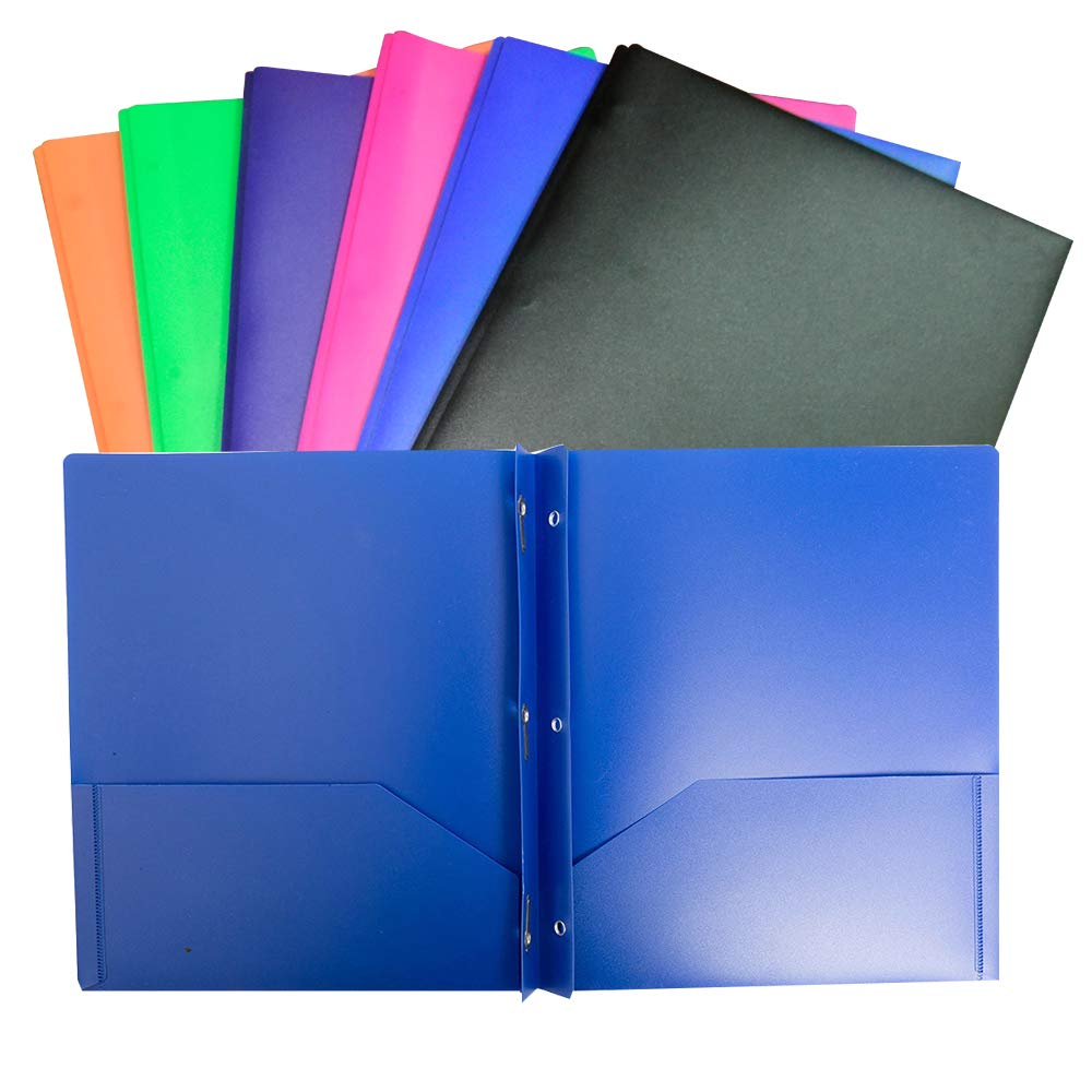 6 Pack Multicolor Plastic Two Pocket Folders, Plastic Folders with 2 Pockets Plastic folders for School, Home, and Work, 6 Pack Plastic folders