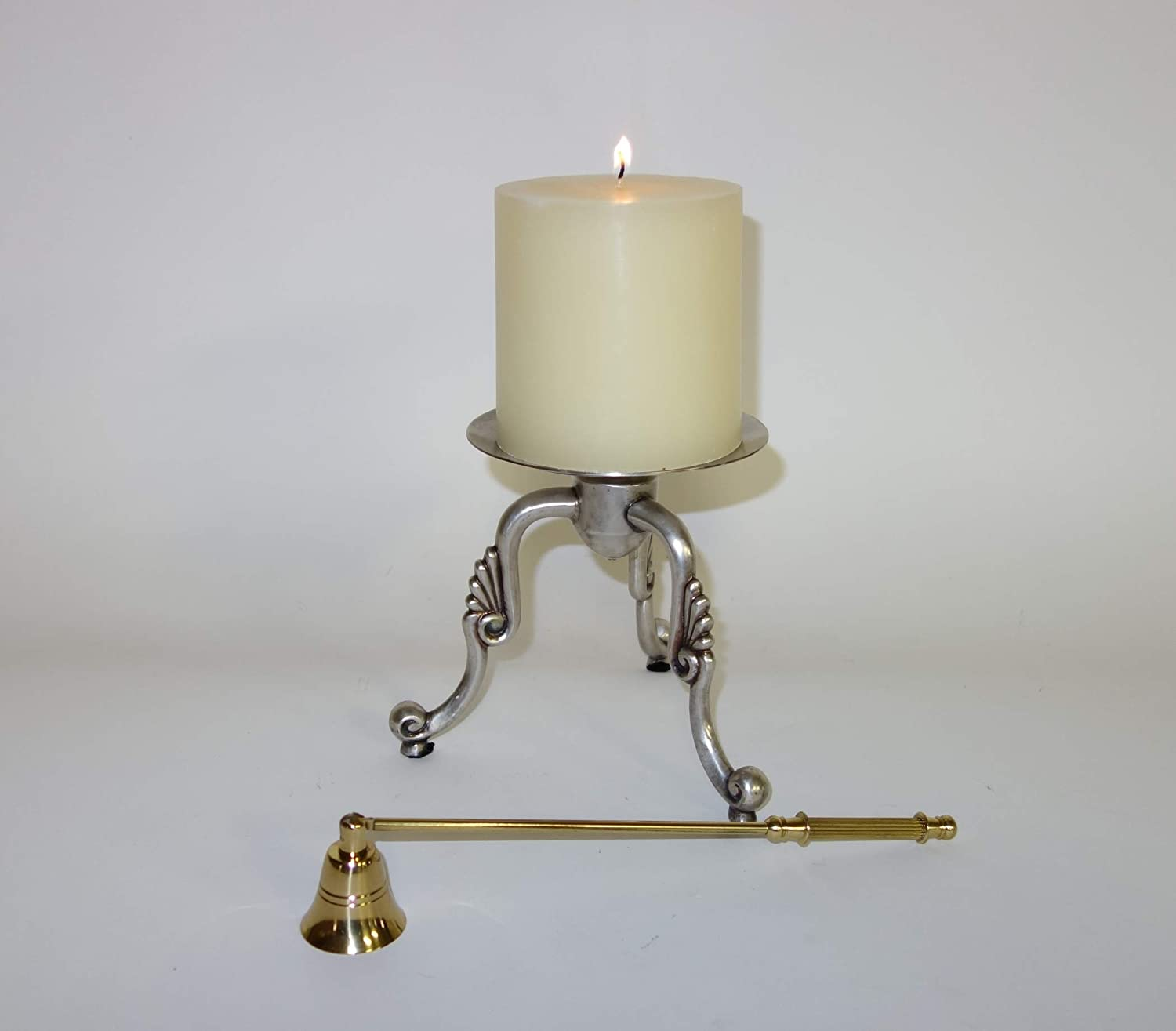 Frolic Home Interiors Antique Silver Finish Pillar Candle Holder with Brass Candle Snuffer