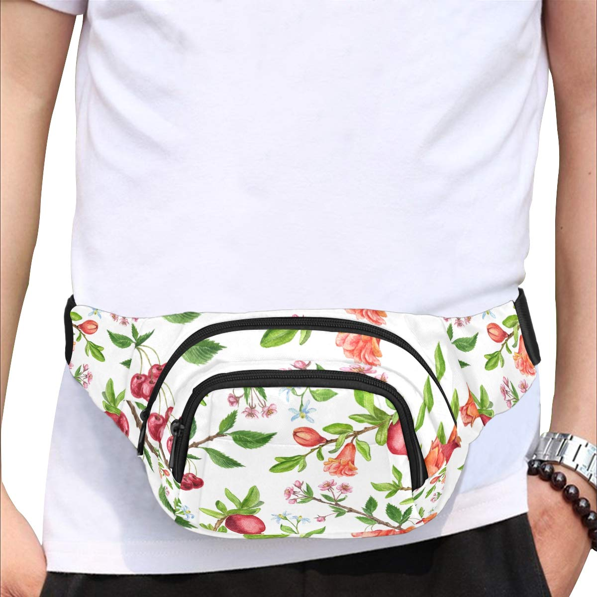 Durian Fruit With Leaves And Flowers Fenny Packs Waist Bags Adjustable Belt Waterproof Nylon Travel Running Sport Vacation Party For Men Women Boys Girls Kids