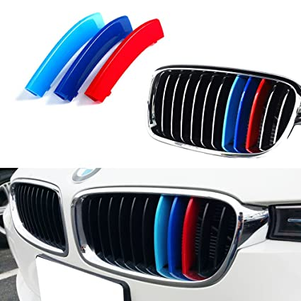 Amazoncom IJDMTOY MColored Grille Insert Trims For BMW F - Bmw m colored kidney grille stripe decals