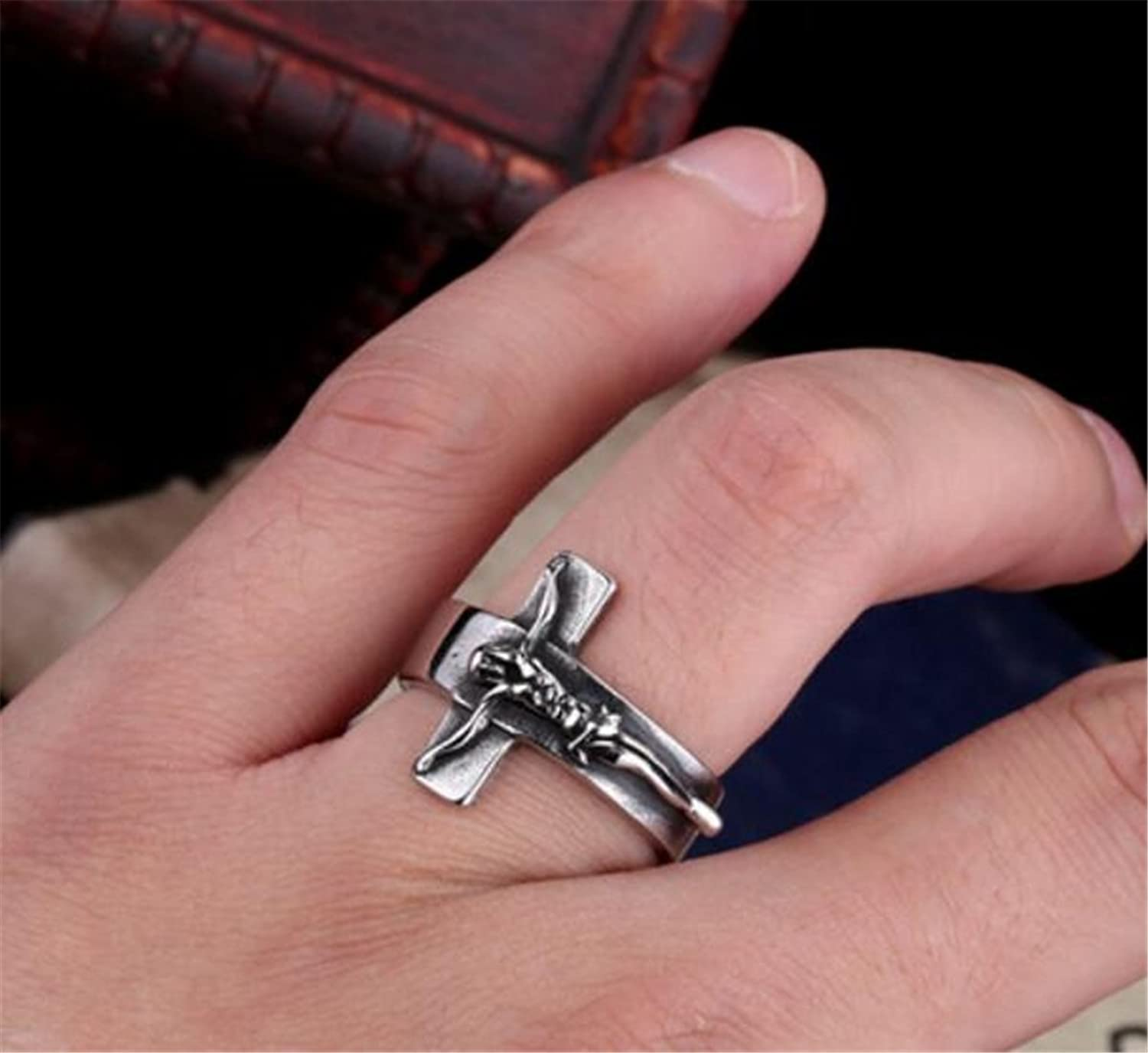 il fullxfull hammered crucifix ring rings oxidized mens zoom band fine rustic wedding cross listing