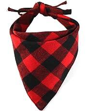 EYLEER Pet Dog Bandana 100% Cotton Reversible Triangle Plaid Bibs Scarf Dog Kerchief Accessories for Medium Large Dog Puppy(L Size) (Red/Black)