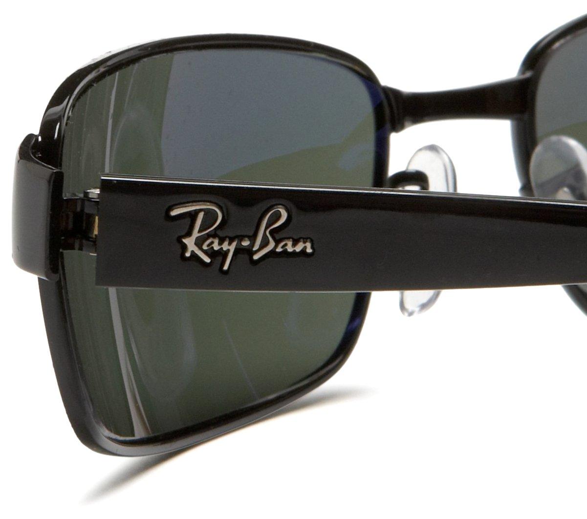 Ray-Ban RB3364 Rectangular Metal Sunglasses, Black/Polarized Green, 62 mm by Ray-Ban (Image #4)