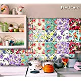 """Bleucoin Floral Style Peel & Stick Kitchen Bathroom Tile Stickers, Removable Vinyl Decal for Stair Riser, Pack of 44 (6"""" x 6"""" Inches)"""