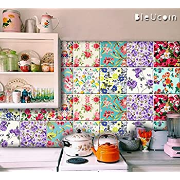 bathroom tile stickers removable bleucoin floral style peel amp stick kitchen 16830