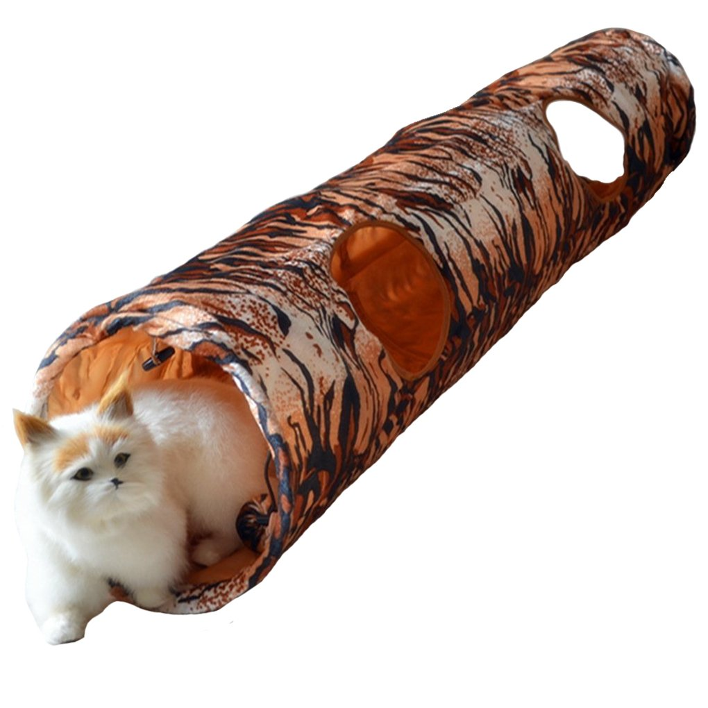 S_ssoy Collapsible Fun Tunnel for Cats with Two Holes (tiger)