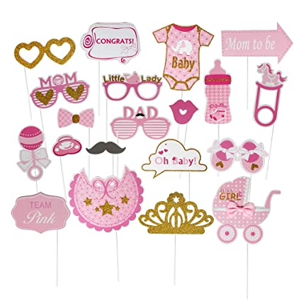 Amazon.com: Its a Girl Photo Booth Props - Juego de 20 ...