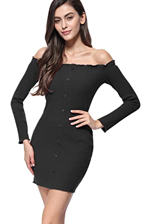f435ba8ba2a68 Meigistan Womens Long Sleeve Off The Shoulder Sexy Tight Bodycon Party Club Mini  Dress(1127