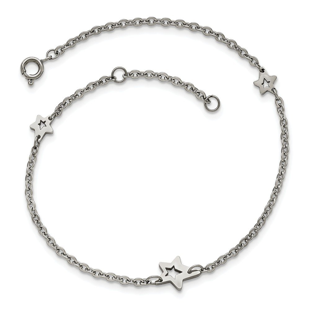 Saris and Things Stainless Steel Polished Stars with 1in Extender Anklet 9in