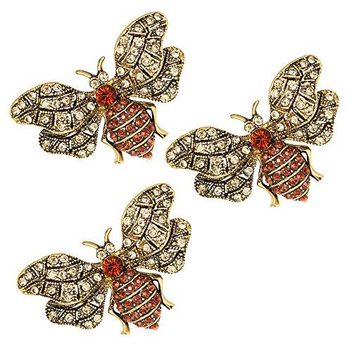 3 pcs beautiful luxury gold Bumblebee brooch pins shirt Collar décor Pin Exquisite Enamel lapel Pin (Brooch 3 Stone)