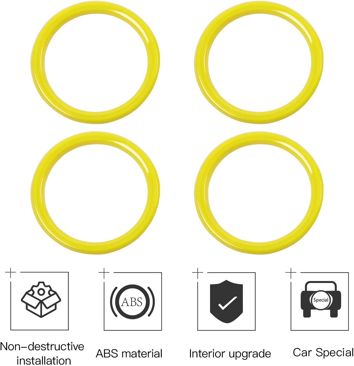 RT-TCZ Air Vents Cover Trim Decoration Stickers Air Conditioning Vent Outlet Trim ABS Cover for Jeep 2018-2021 JL Yellow for Jeep Wrangler Accessories