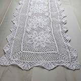 White Hand Crocheted Lace Look Doily Runner for Home Decor and Accenting