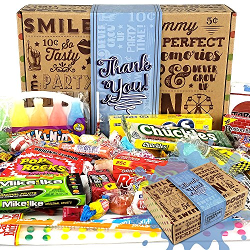 Vintage Candy Co. THANK YOU GIFT BASKET CANDY BOX For Men Or Women | SAY THANKS With A Unique Assortment of Nostalgic Decade Candy PERFECT Gratitude Gift for Women Men Girls Boys Coworkers Teens Etc. (Best Bridesmaid Gifts Received)