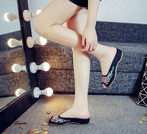 WXT Zapatos bordados, lenguado de tendón, estilo étnico, flip flop femenino, moda, sandalias cómodas y casuales Black