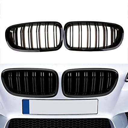 e19ea4eb69ec Amazon.com  Ricoy 2010-2016 For BMW Sedan F10 F11 F18 M5 Gloss Black Front  Kidney Twin FIns Grille 5 Series 520i 535i 550i Come with M5 Emblem (1  set)  ...