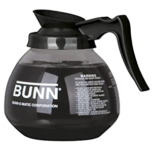 BUNN Coffee Pot Decanter/Carafe Black Regular - New Glass Design Shape - Ergonomic Handle - 12 Cup Capacity -