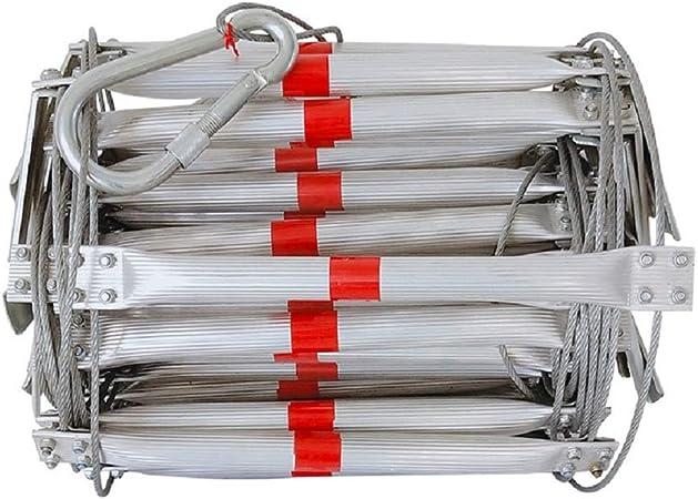 FIREDUXYL Escalera De Emergencia, Escalera Blanda Plegable Alambre Acero aleación de Aluminio para el Rescate de Escape, Trabajo en Altura, Control de Incendios,30m: Amazon.es: Hogar