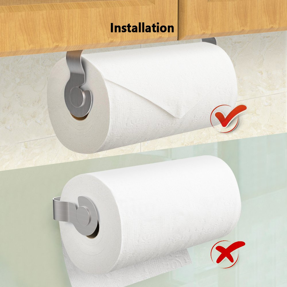 No Drilling Adhesive Paper Towel Holder with Shelf Kitchen Roll Dispenser Spice