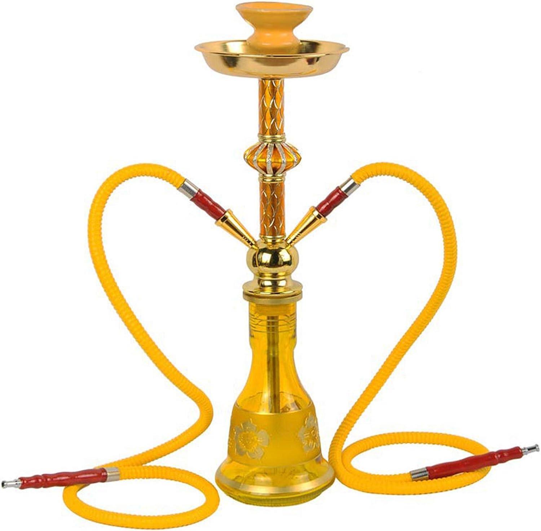 QMMD Cachimba árabe, Gran Cultura Hookah Doble Pipe Portable 29.56 Pulgadas 2 Accesorios de la Serie de Manguera y Fumar, Adecuado para la Fiesta de Barra de Club-al Aire Libre,E