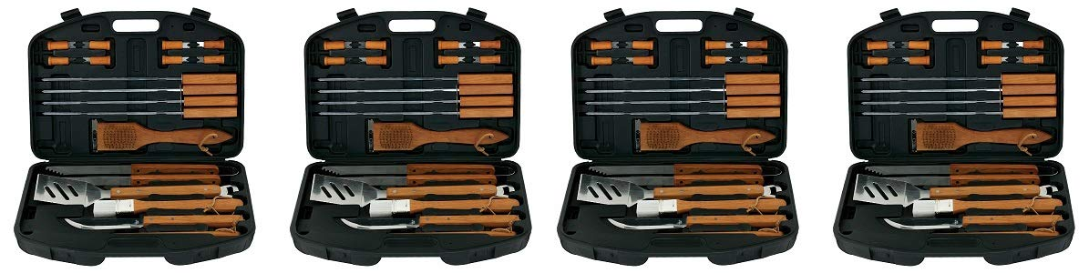 Mr. Bar-BQ 94001X 18-Piece Stainless-Steel Barbecue Set with Storage Case (4-(Pack))