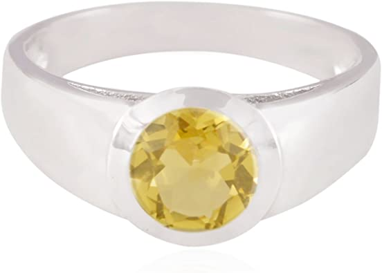 Genuine Gems Round Faceted Citrine Rings 925 Silver Yellow Citrine Genuine Gems Ring Girls Jewelry Greatest Seller Gift for Husband Rings