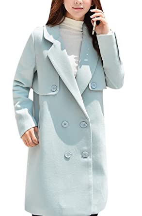 98579d5a66a Amazon.com  Lingswallow Women s Double Breasted Wool Lapel Blue Thicken Trench  Coat Jacket  Clothing