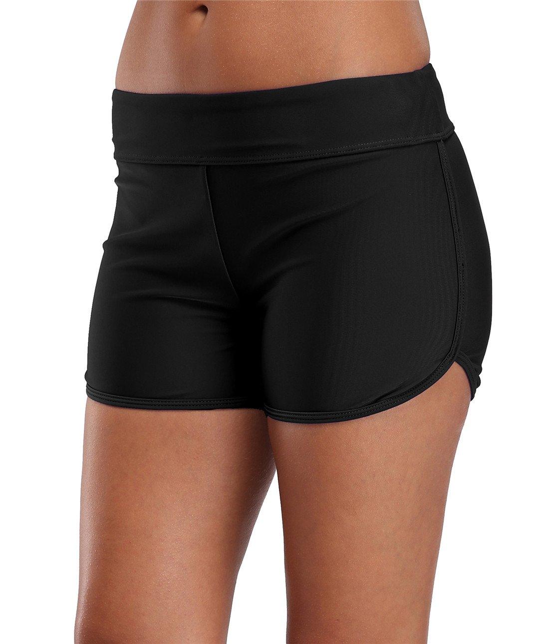 Womens Swimming Bottoms Black Plain Tankini Bottom Bikini Briefs Boy Style Tankini Shorts Tag L Black Size 10
