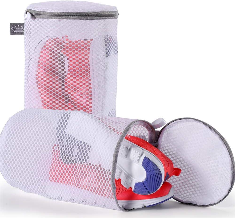 "Kimmama Shoes Wash Bags Sneaker Mesh Washing Cleaning Bag 125gsm Net Fabric Durable and Reusable Wash Bag,Travel Organization Bag (7""×15"")"