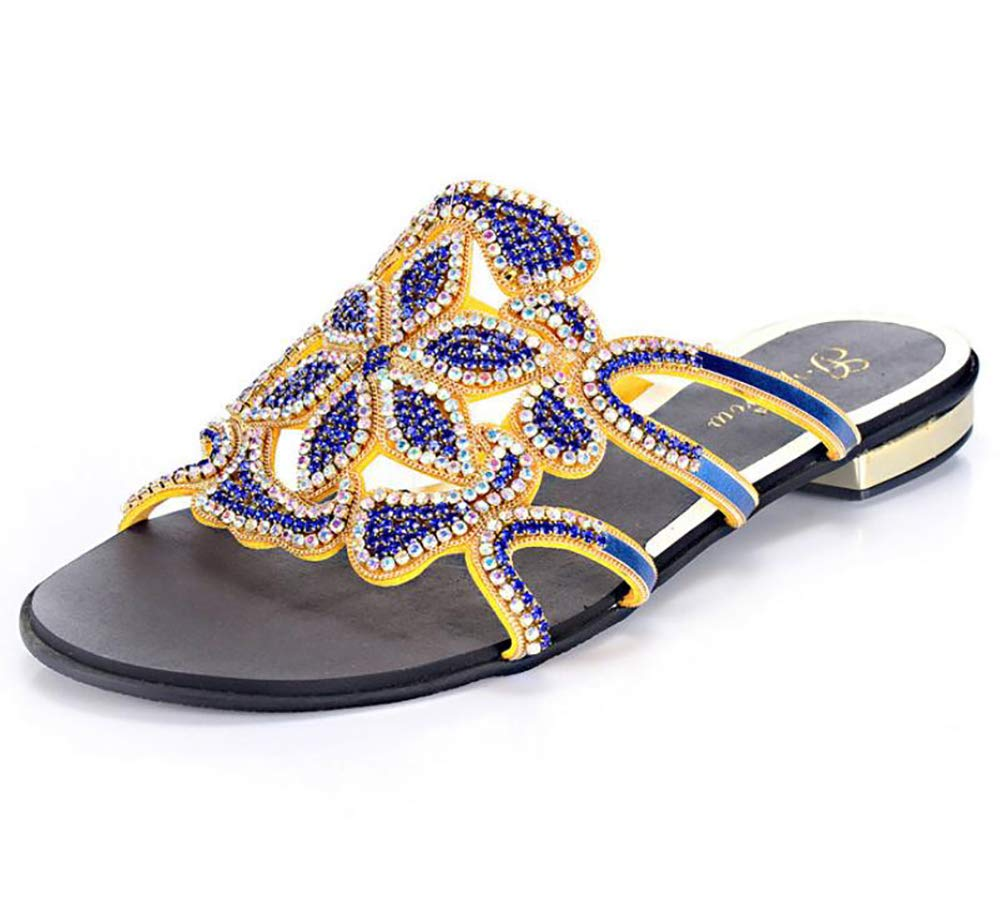 bluee Women's Sequins Sandals Pointed Flat Mouth shoes Elegant Bohemian Strass Summer Beach Square Holiday Stylish Slippers