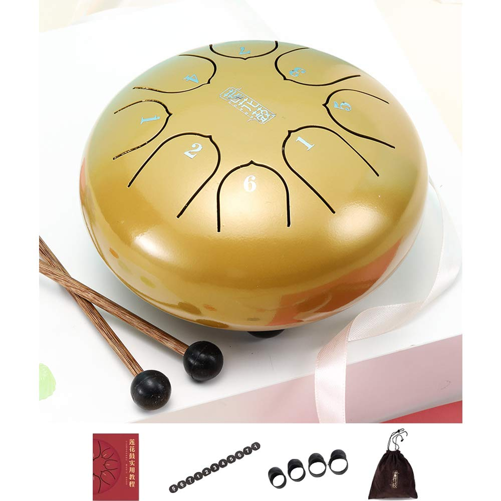 Warooms 6 Inch Steel Tongue Drum Set 8-Tone Hand Pan Drum Mini Percussion Instrument, with Finger Sleeve/Drum Mallets/Carry Bag/Spare Sticker/Tutorial