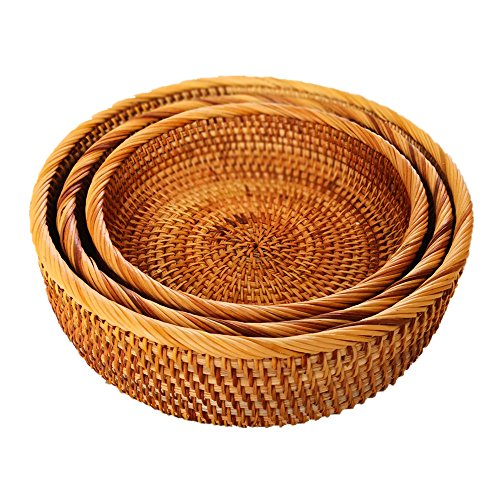 AMOLOLO Hadewoven Round Rattan Fruit Basket Wicker Food Tray Weaving Storage Holder Dinning Room Bowl (3-Size Kit)