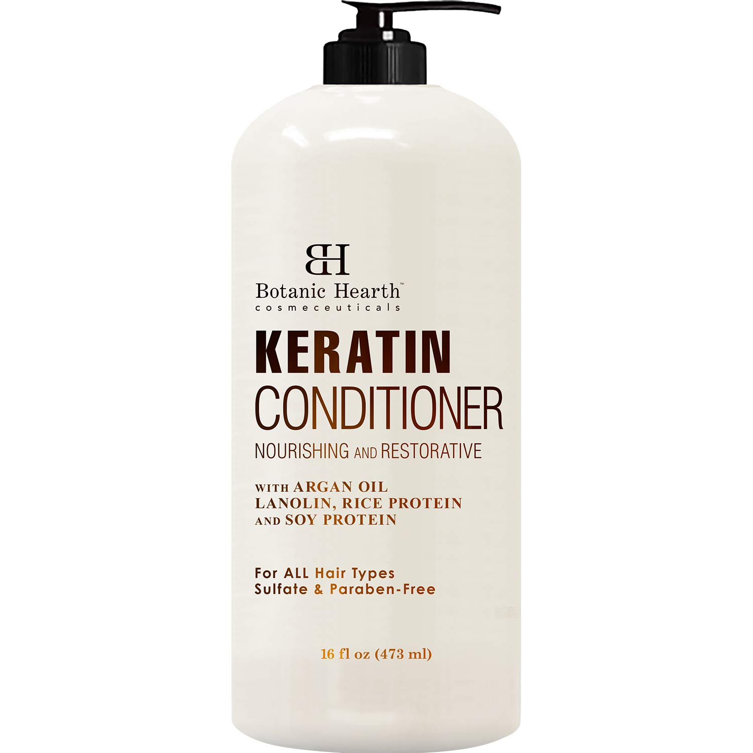 Keratin Conditioner with Argan Oil by Botanic Hearth - Natural Sulfate Free Keratin Hair Treatment for Normal, Dry or Damaged Hair - All Hair Types, Women and Men, Color Treated Hair - 16 fl oz