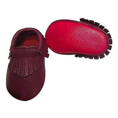 b2faff7bec2 Amazon.com: Baby Girls Dark Purple Red Soft Sole Faux Leather Tassel ...