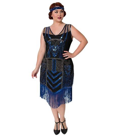 Unique Vintage Plus Size Black Beaded Royal Blue Fringe Henriette