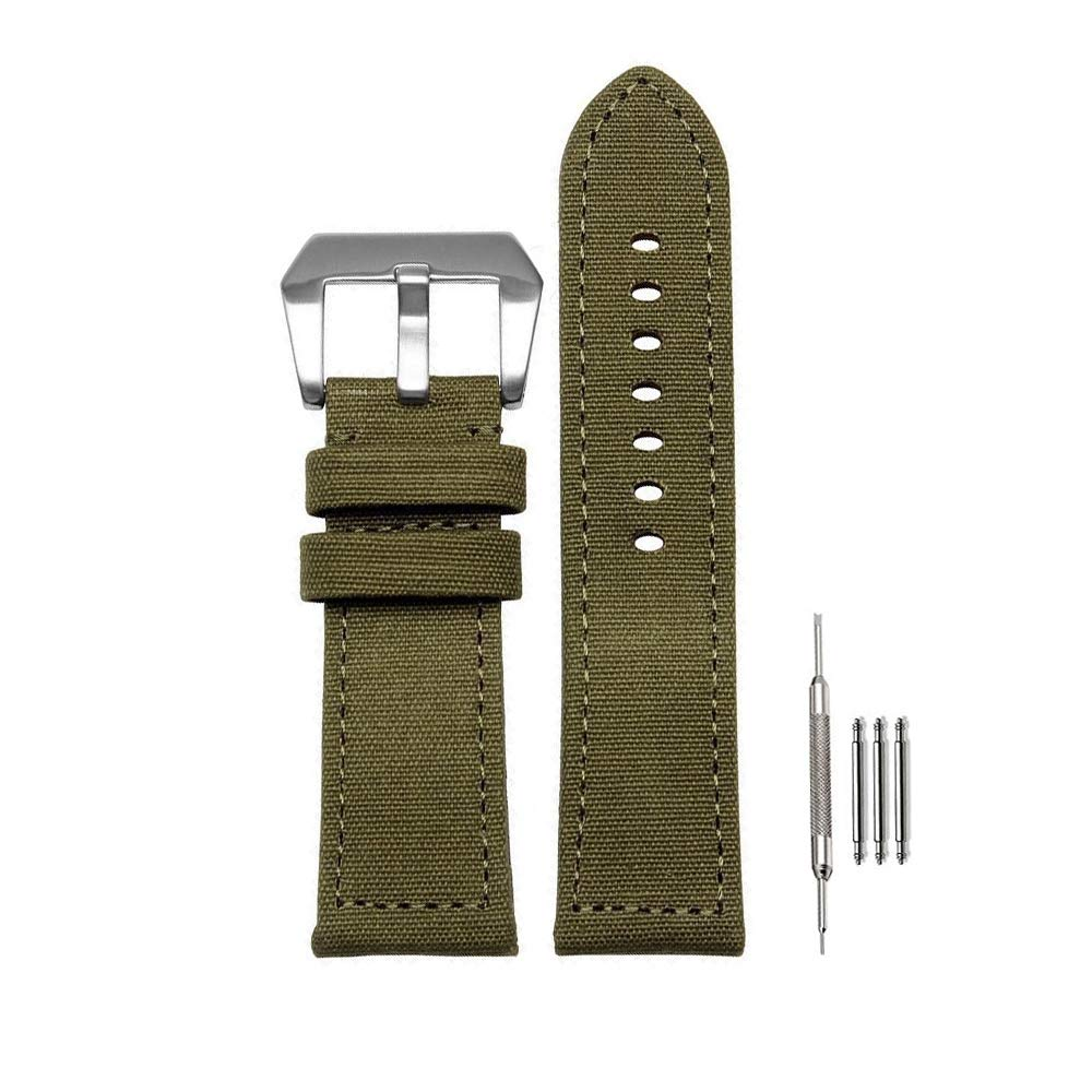 24mm Canvas Band with Thick Nylon Bracelet Leather Lining for Panerai Watches for Men (24 mm, Green)