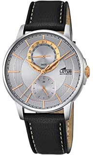 Lotus stainless steel men grey watch two spheres and leather band
