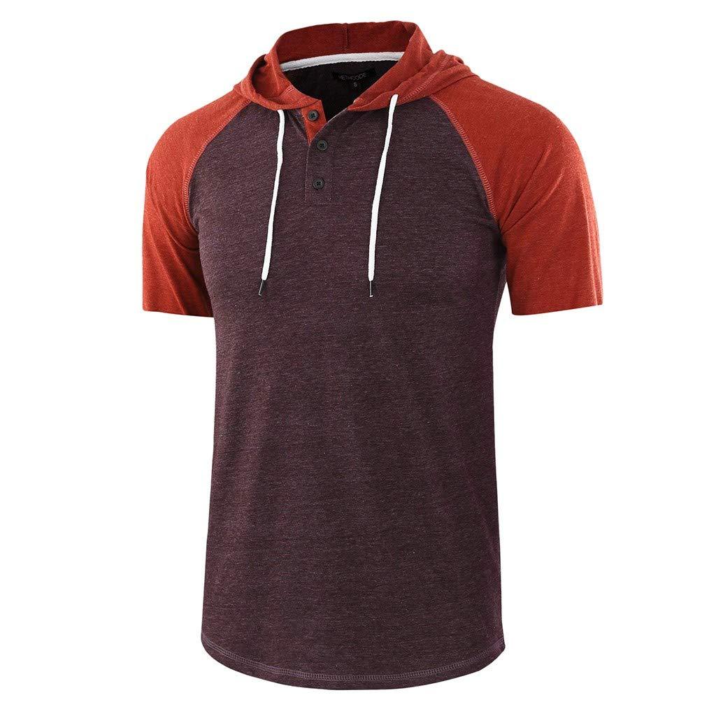 YKARITIANNA Men Casual Summer Patchwork Drawsting Short Sleeve Hoodie T-Shirt Top Blouse 2019 Summer Hot Sale