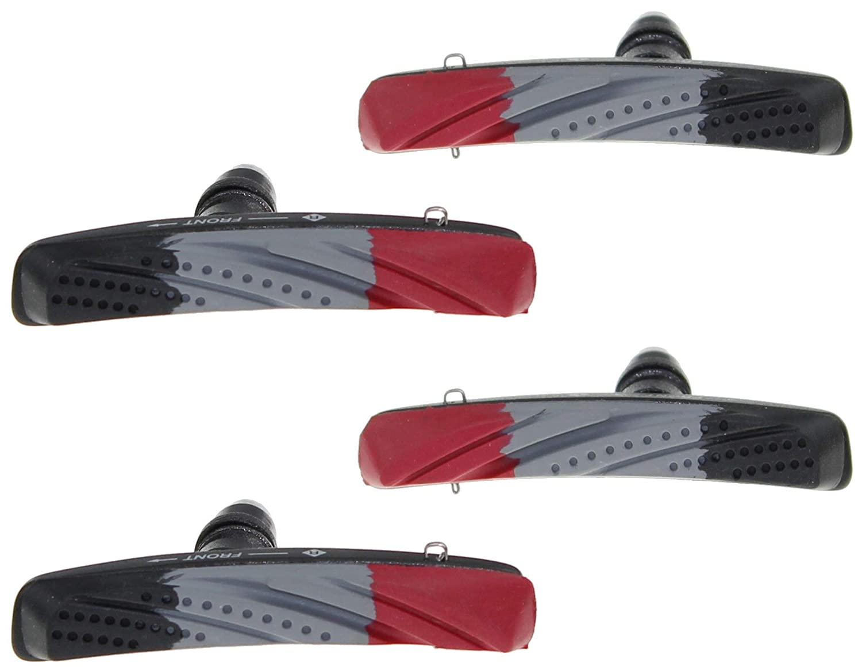 Color de la Carcasa: Negro Mate Zapatas de Freno para Frenos V-Brake 2 Pares = 4 Unidades P4B Cartridge Revestimiento de 3 Colores con dise/ño de Flujo de Aire