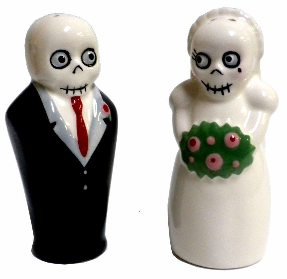 amazoncom newlydeads bride and groom ceramic salt and pepper  - amazoncom newlydeads bride and groom ceramic salt and pepper shakers dayof the dead salt kitchen  dining