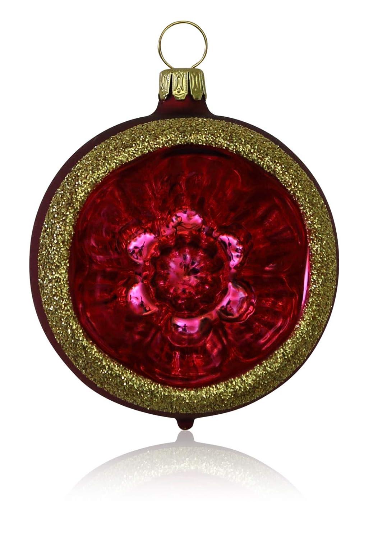 handdekoriert Lauscha el original soplado Bolas con Scheiber Color Rojo Oscuro Mate con adornos 4/pieza D 6/cm /árbol de Navidad /árbol de Navidad