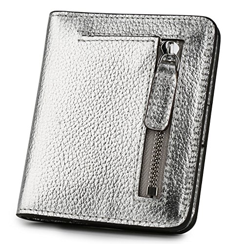 RFID Blocking Wallet Women's Small Compact Bifold Leather Purse Front Pocket Mini Wallet (Bright Silver) (Card Silver Coin)