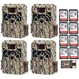 Browning Trail Cameras (4) Strike Force Extreme 16 MP Game Camera + 16GB SD Card + Focus USB Reader