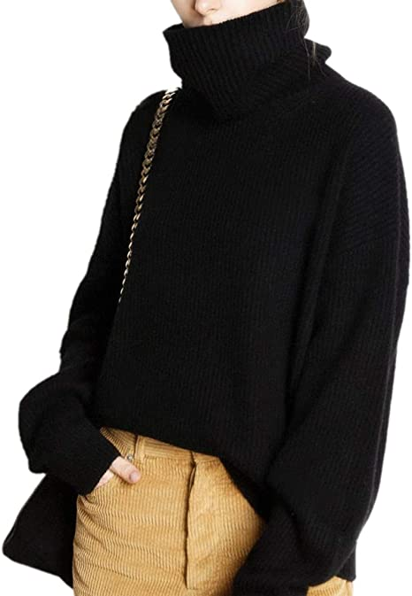 Sweater Tops Loose Knitted Outdoor Womens Turtleneck Jumper Pullover Cashmere