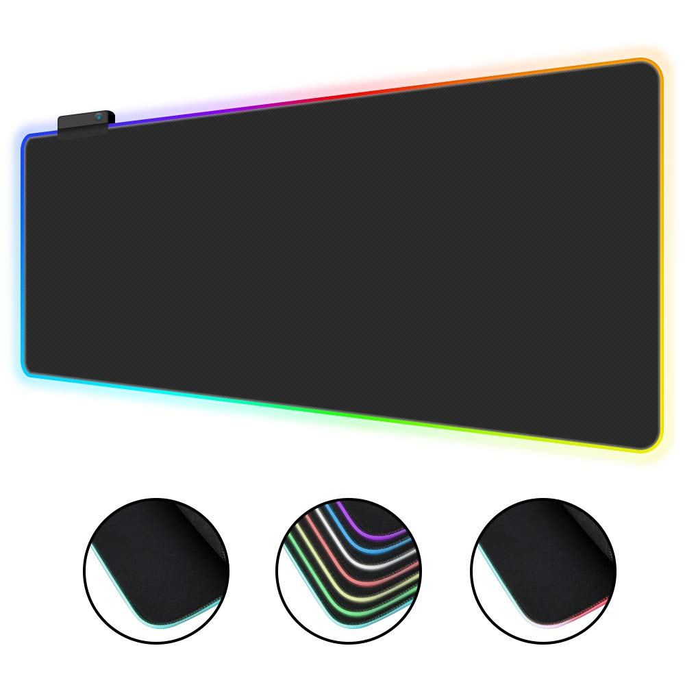 Sonkir RGB Gaming Mouse Pad Large, Oversized Glowing Led Extended Mousepad Non-Slip Rubber Base Computer Keyboard Pad Gaming Desk Mat for Gamer 31X 12in