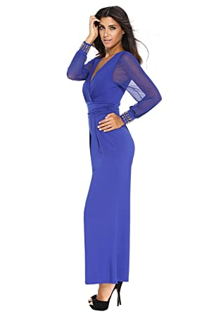 65294712ef9 Amazon.com  KaleaBoutique Slimming Embellished Cuffs Long Mesh Sleeves Sexy  Women Ladies Jumpsuit
