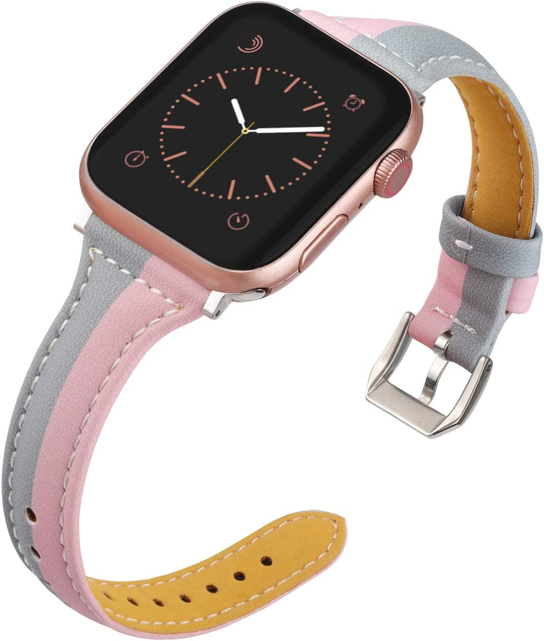 Wearlizer Thin Leather Compatible with Apple Watch Bands 38mm 40mm for iWatch SE Top Grain Strap, Womens Mens Slim Pink Gray Leisure Cute Two-Tone Wristband (Silver Clasp) Series 6 5 4 3 2 1 Sport