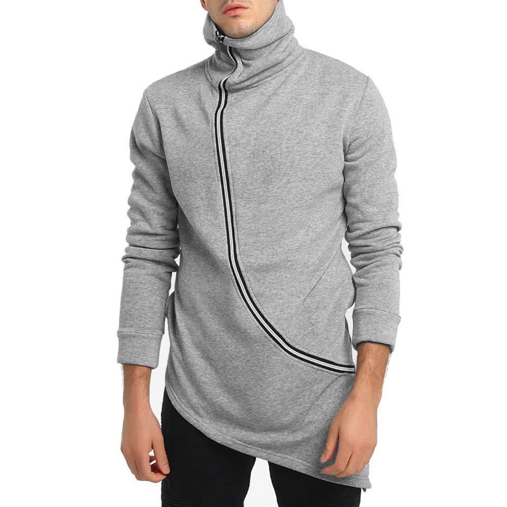 Thermal Pullover,Men's Casual Long Sleeve Zipper Irregular Hem Sweatershirt Top Blouse for Men Teen Boys Ennglun ENN090480