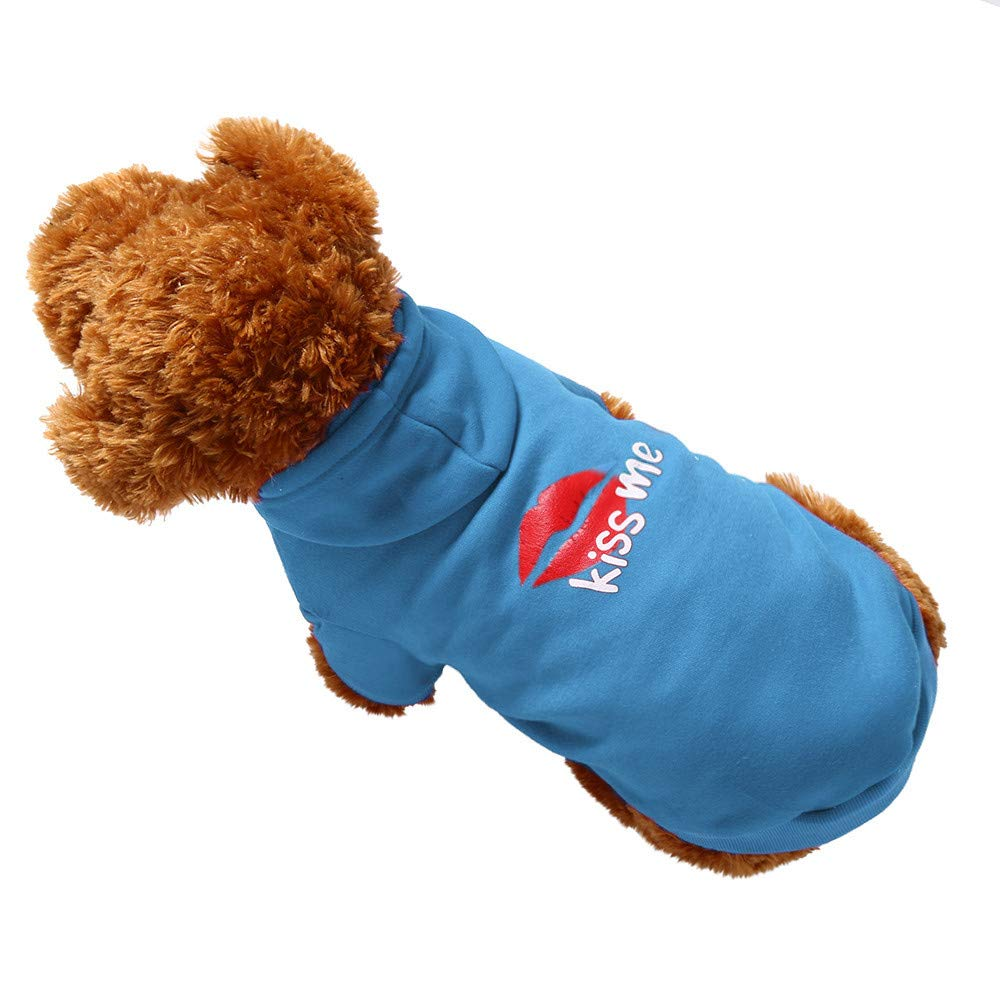 abcnature Pet Dog Hooded Clothes Drawstring Hoodie Warm Winter Kiss Me Printed Sweatshirts Puppy Coat Apparel